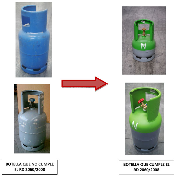 Ejemplo de botellas que no cumplen y otras que cumple con el RD 2060/2008.