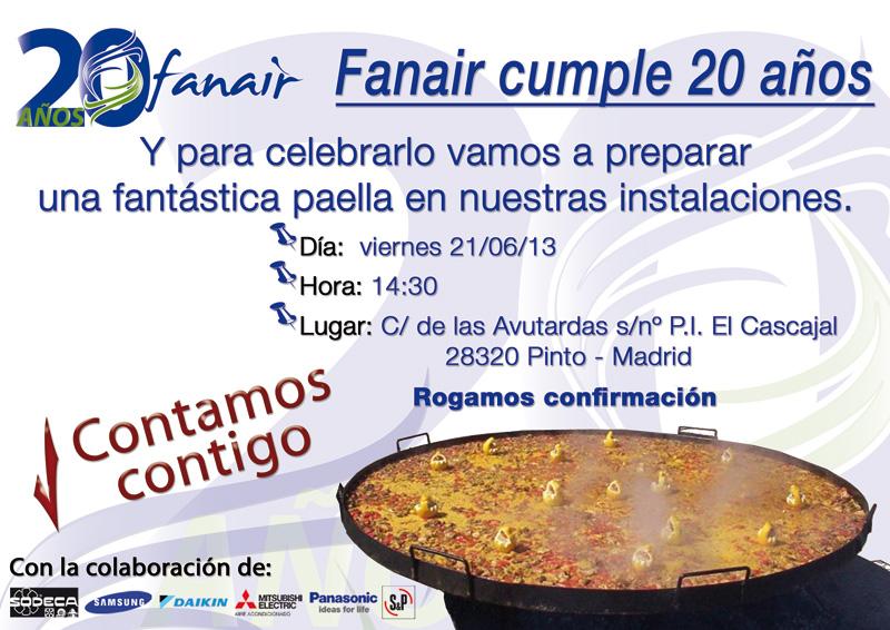 Fanair cumple 20 años y para celebrarlo prepararemos una fantástica paella en nuestras instalaciones el viernes 21/06/13.  Contamos contigo.
