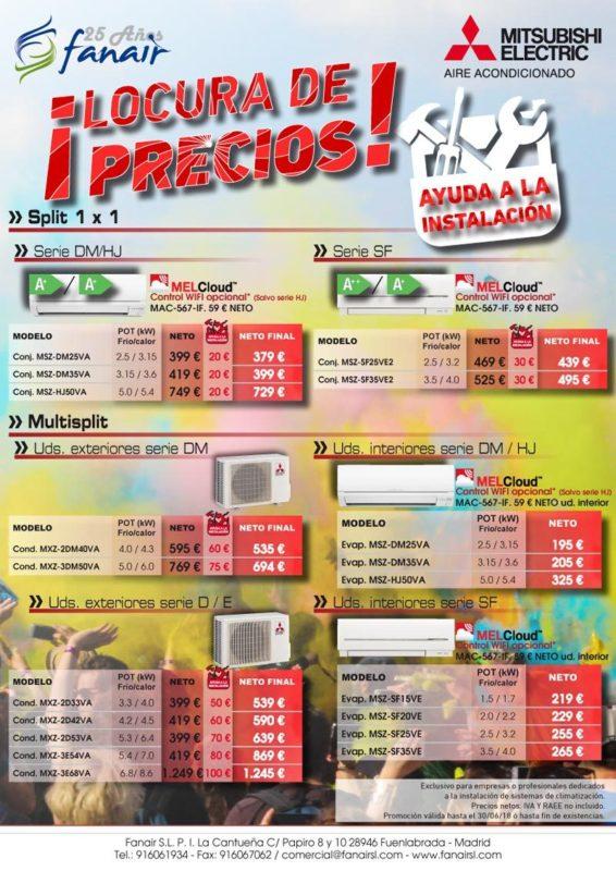 Locura de precios en equipos de MITSUBISHI ELECTRIC con una ayuda a la instalación en los equipos split 1x1 y multisplit