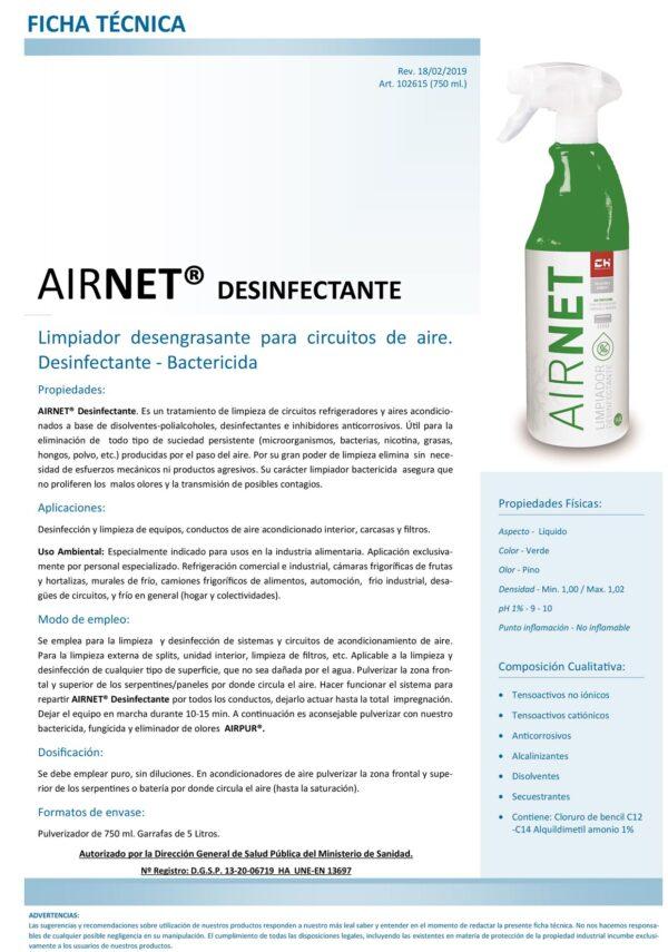 Ficha Técnica AIRNET Desinfectante