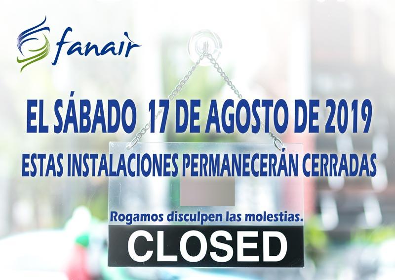 El sábado 17/08/19 Fanair permanecerá cerrado.