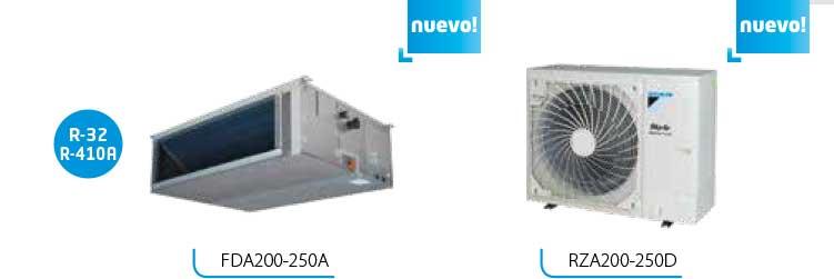 nuevas unidades exteriores RZA200-250D con un solo ventilador