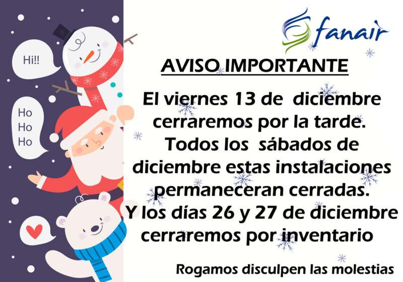 Calendario diciembre 2019. FANAIR