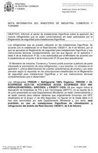Nota informativa del Ministerio de Industria, Comercio y Turismo en materia de instalaciones frigoríficas.