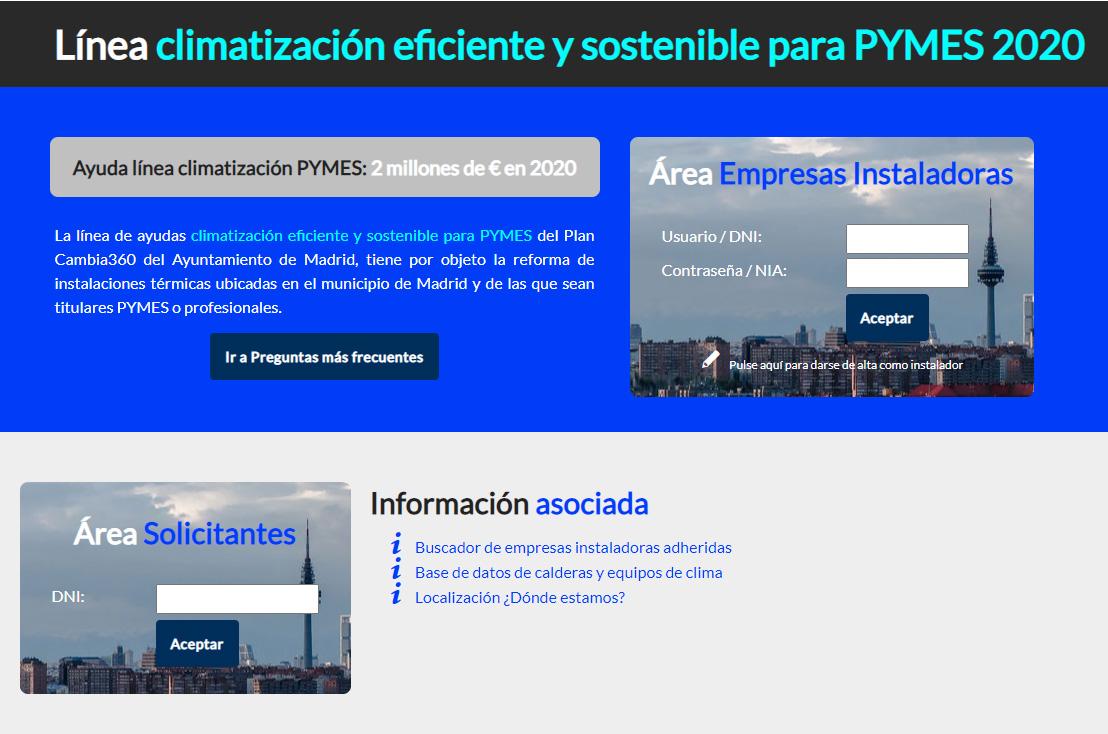 linea climatizacióm PYMES madrid 2020