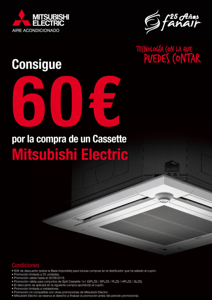 Llévate 60€ por la compra de un cassette Mitsubishi Electric Aire Acondicionado en Fanair